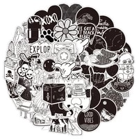 103050pcs classic black and white cool stickers aesthetic laptop skateboard waterproof diy graffiti decal sticker pack kid toy