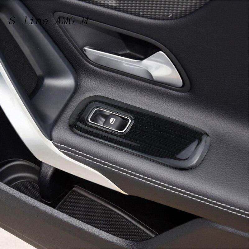 Estilo do carro porta painel braço proteger capa adesivos para mercedes benz a classe w177 aço inoxidável janela de levantamento vidro botão
