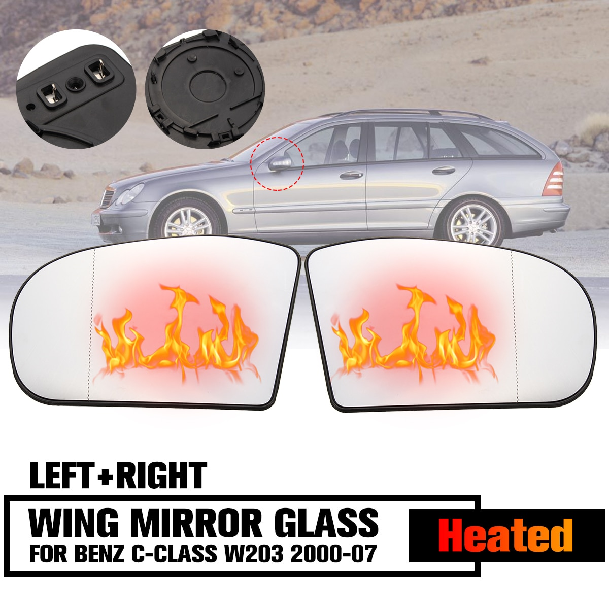 Door Wing Mirror Glass Heated Wide Angle Left Right Side For Benz C-Class W203 2000-2007 Saloon E-class W211 E320 E350 E500 E55