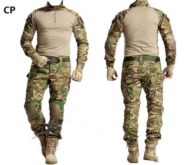 Uniforme militar Multicam ejército combate camisa uniforme pantalones tácticos con rodilleras camuflaje traje ropa de caza