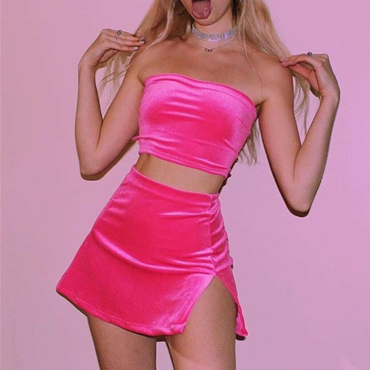 2pcs set Women Holiday Adjustable Spaghetti Strap Crop Tops High Waist Bodycon Skirt Set Ladies Summer Beach Party wear Outfits