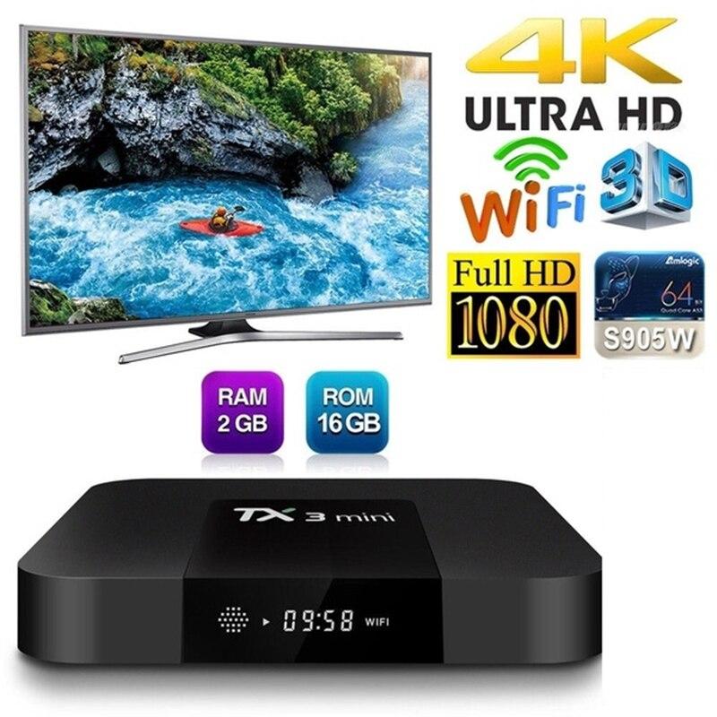 TX3 mini-جهاز فك تشفير التلفزيون الذكي ، جهاز فك تشفير الإشارة مع Android 7.1 ، 2 جيجابايت ، 16 جيجابايت ، Amlogic S905W ، رباعي النواة ، H.265 ، 4K ، WiFi ، Bluetooth ، IPTV ...