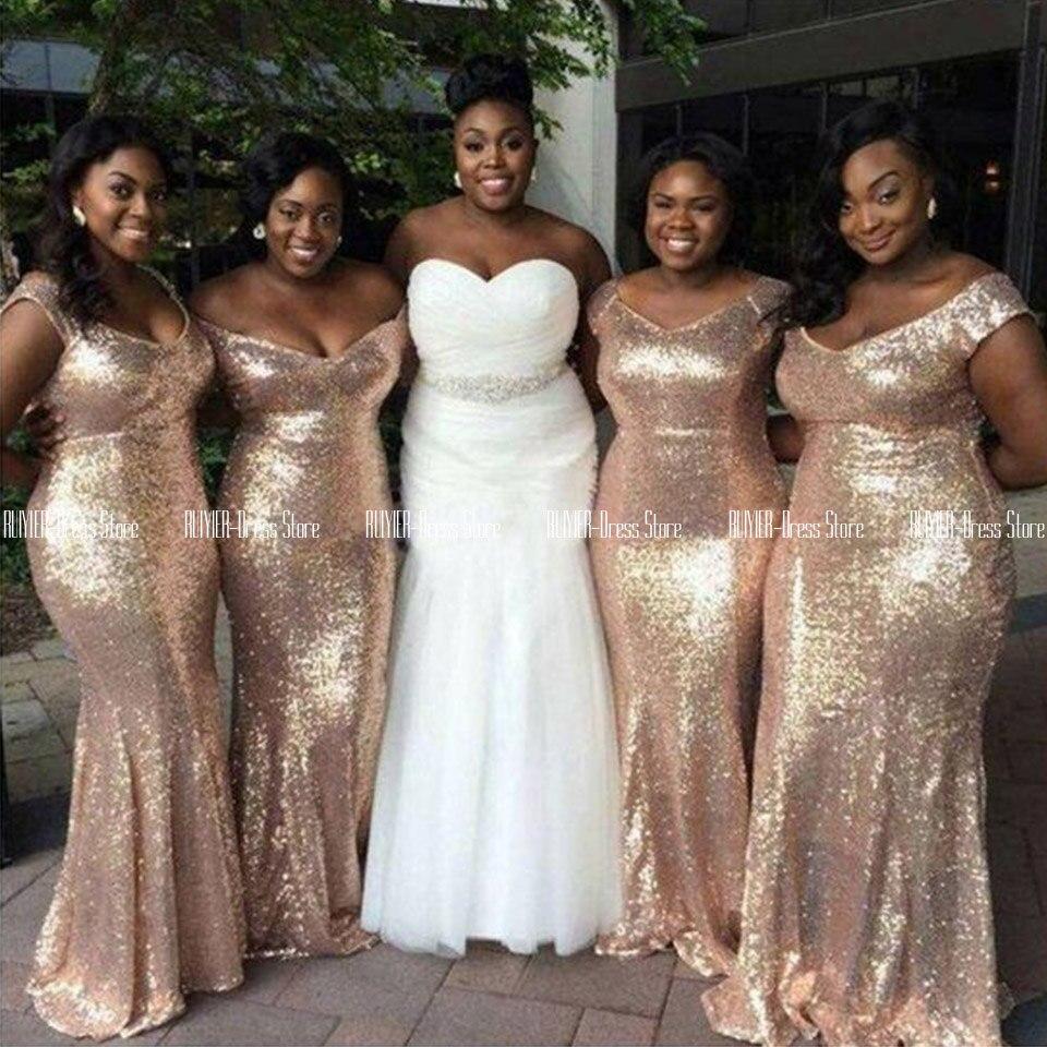Платье подружки невесты с пайетками размера плюс цвета шампанского, с v-образным вырезом и шнуровкой сзади, платье-футляр для свадебной вече...