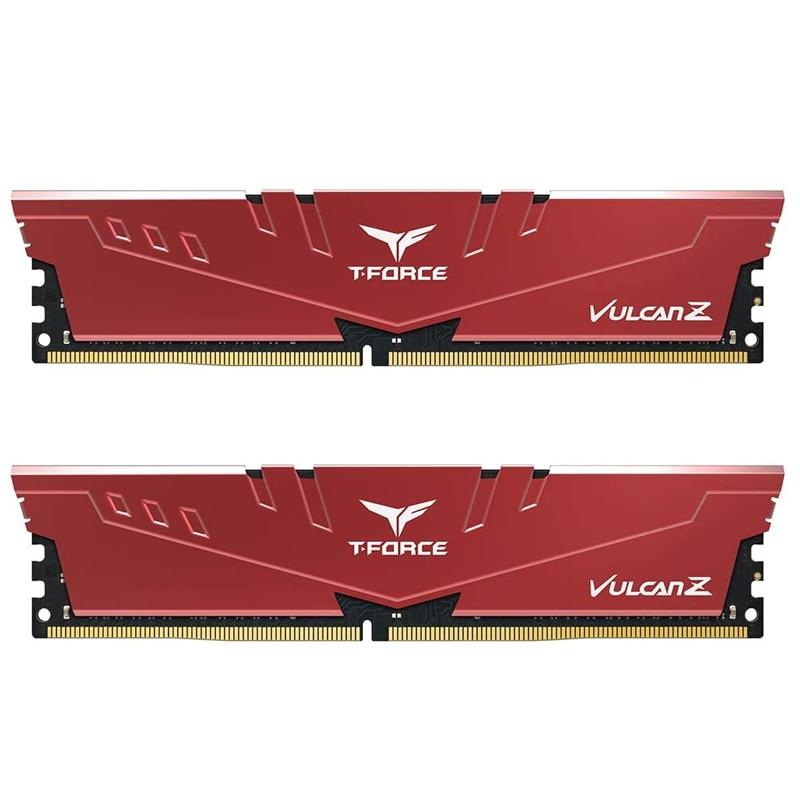 TEAMGROUP T-Force Vulcan Z DDR4 16GB(2x8GB) 32GB(2x16GB) 64GB(2x32GB)3200MHz وحدة ذاكرة عشوائيّة للحاسوب المكتبي Ram Red