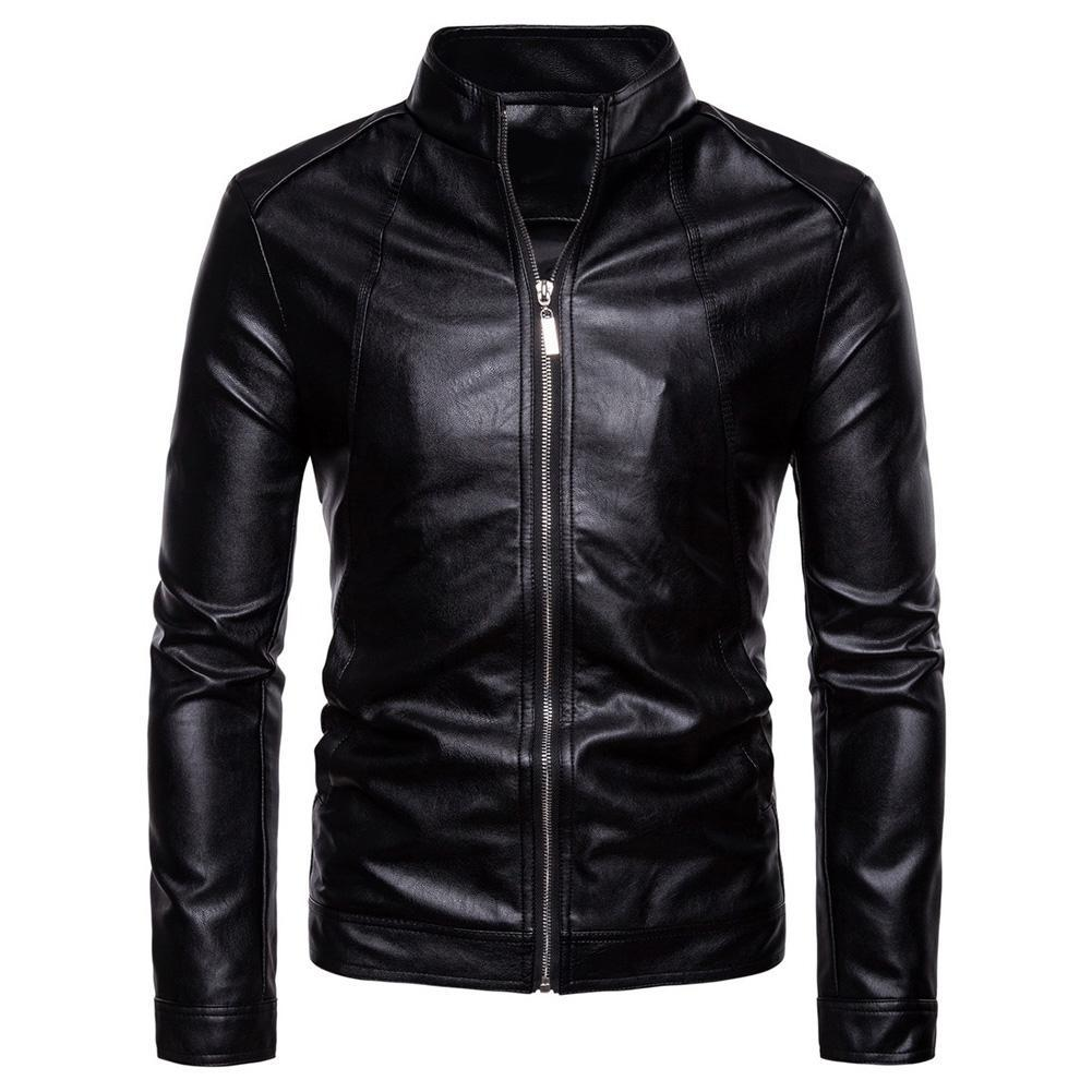 Men Faux Leather Solid Color Stand Collar Long Sleeve Zip Motorcycle Jacket Coat мужская куртка