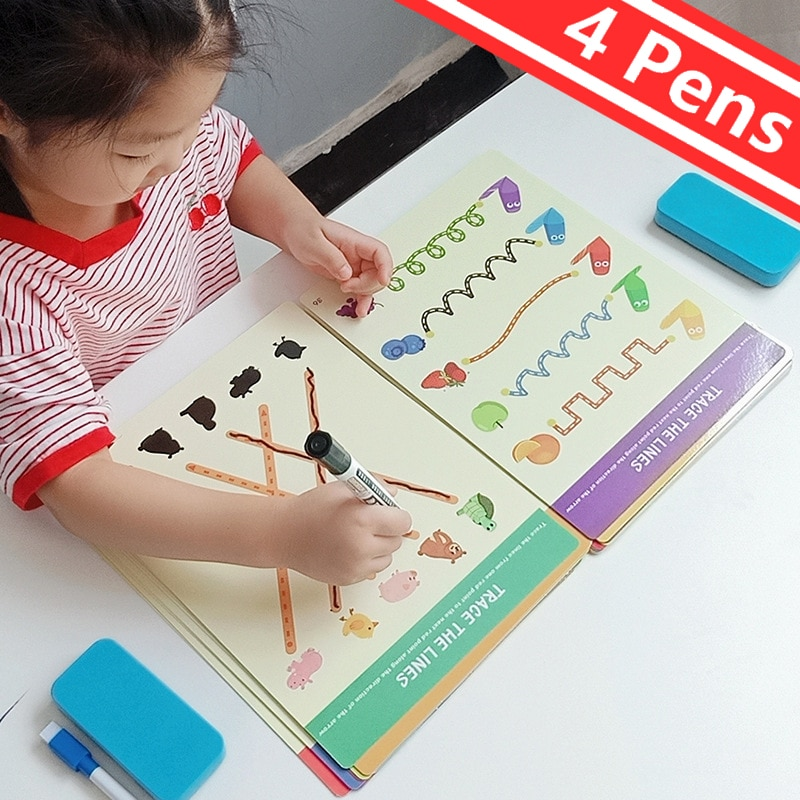 Montessori Children Toys Drawing Tablet DIY Color Shape Math Match Game Book Drawing Set  Learning Educational Toys For Children