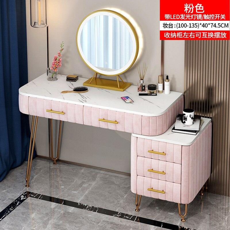 ماكياج خلع الملابس الجدول لغرفة النوم ضوء مرآة مجوهرات ماكياج المنظم الأدراج الحديثة مضمد الرخام سطح المكتب 100 سنتيمتر
