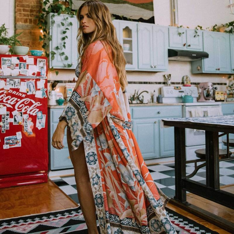 Kimono tipo Kimono para playa de gran tamaño, estampado Vintage Floral, Bikini para vacaciones, cárdigan largo holgado de paseo bohemio, chaqueta naranja 2020 para mujer