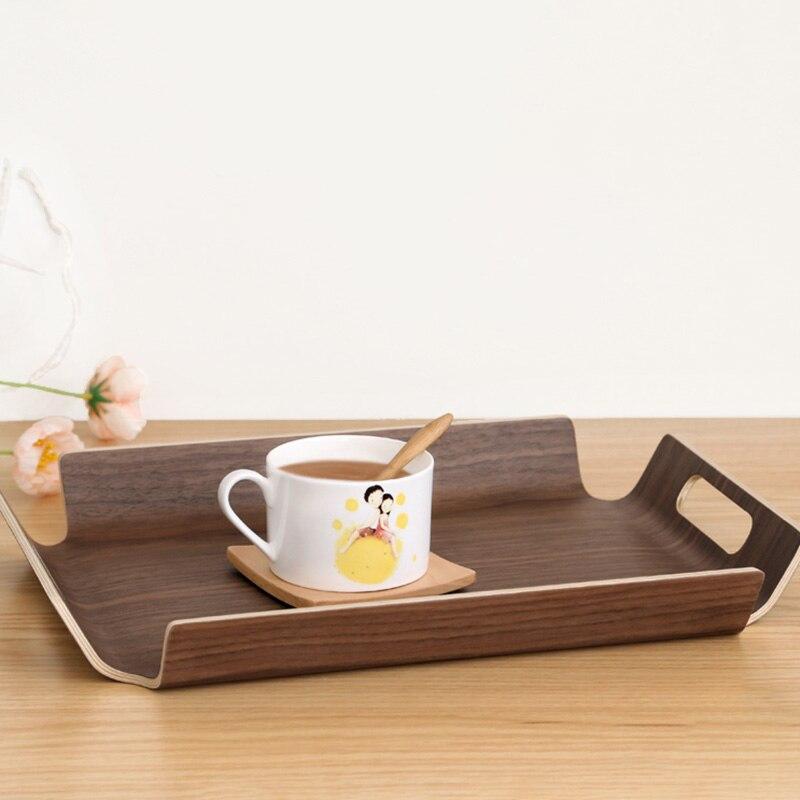 Mesa de escritorio de lujo en la cama, bandeja de madera para pan, fruta, desayuno, comida, pastel, café, bandeja para servir té