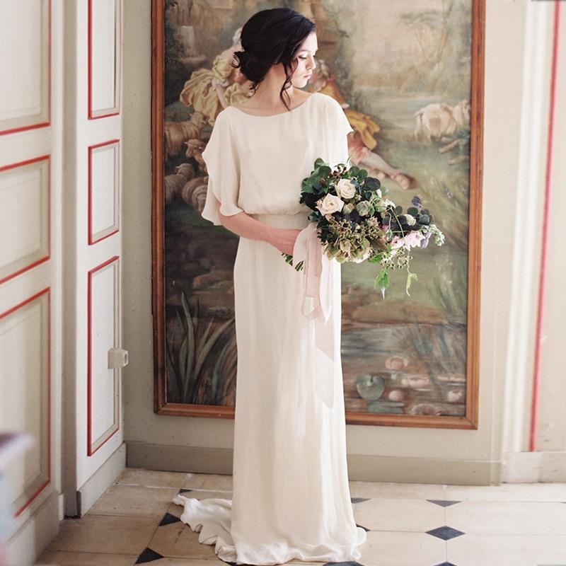 فستان زفاف بوهيمي ، جديد ، نحيف ، ياقة دائرية ، نصف كم ، رسن ، مع قطار صغير ، بسيط ، مجموعة 2021