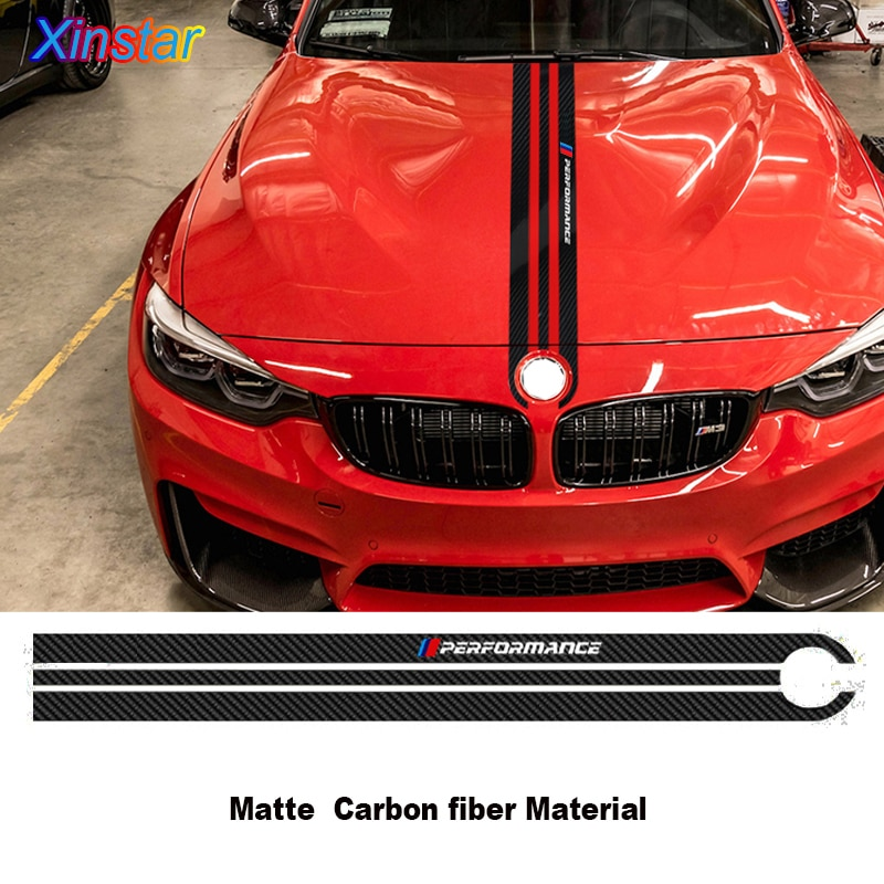 Carbon Fiber Car Hood Sticker M Performance Car Body Decal Styling For BMW M3 M5 M6 E46 E90 E60 E70 F30 F10 F15 F16 etie car styling sports mind produced by m performance power sticker