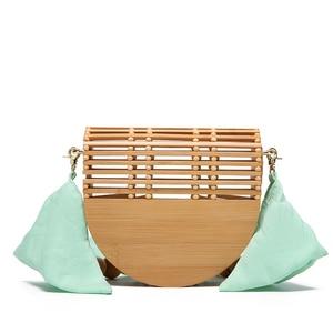 Luxury Brand Design Hollow out shoulder bag Bamboo Women Crossbody Bags 2021 Summer Woven Beach Tote Messenger Bags Female Purse