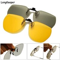 mirror blue flip up clip on sunglasses men polarized lens metal clips night vision safe driving goggles uv400 glasses for women