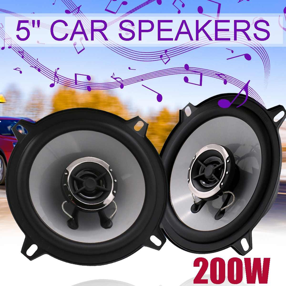 Altavoces universales HiFi para coche Coaxial, 2 uds. Y 5 pulgadas de 200W, altavoces estéreo de frecuencia de rango completo con Audio de puerta de coche y 2 canales