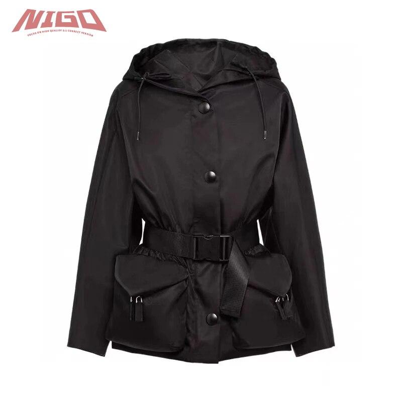 نيجو برا 21ss نايلون قصيرة مقنعين خندق معطف # nigo13136