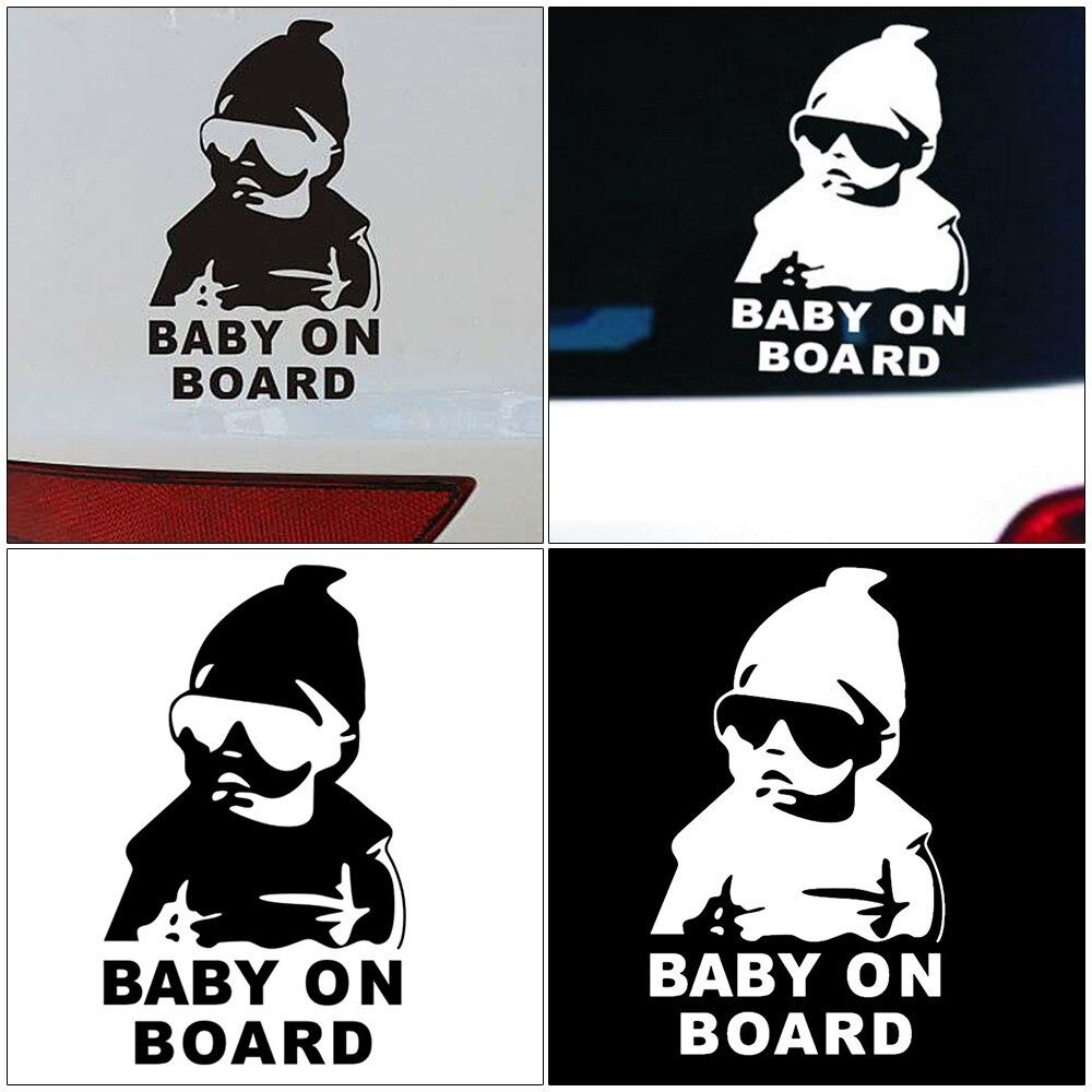 14*9 CENTÍMETROS BABY ON BOARD Fresco Traseiro de Carro Adesivos de Advertência Reflexivo Óculos De Sol Da Criança Decalques Preto/Branco Car acessórios