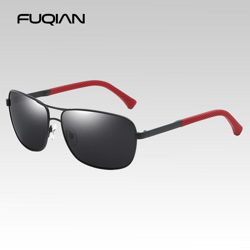 Fuqian marca design de pouco peso tr90 homem polarizado sunglass vintage metal quadro de condução óculos de sol espelho azul condução eyewear