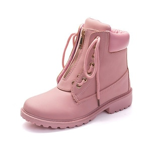 Fashion European Pink Black Cross-tied Ankle Boots Flats Square Heel Zip  Boots PU Leather Woman Shoes Botas Female