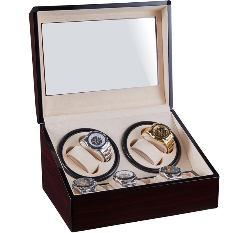 Watch Winding Storage Box Winder Shake Jewelry Collection Holder Wooden 4+6 Automatic Display Double