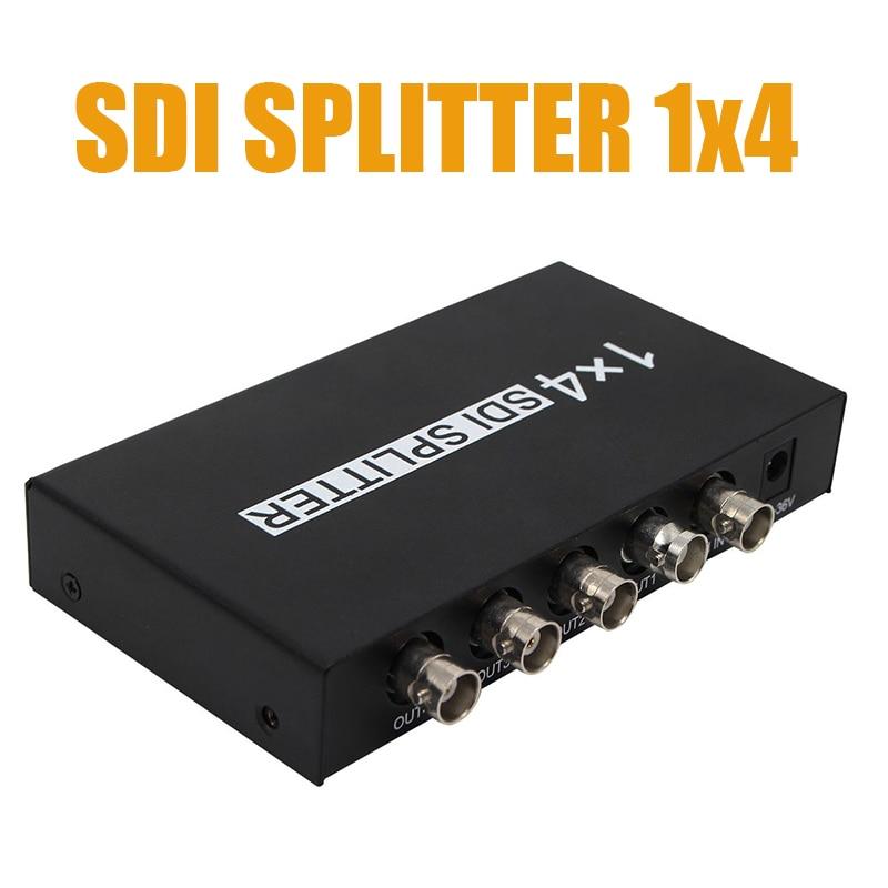 SDI сплиттер 1x4 HD SDI сплиттер расширитель адаптер Поддержка HD-SDI, SD-SDI и 3G-SDI сигнал для монитора проектора SDI камера