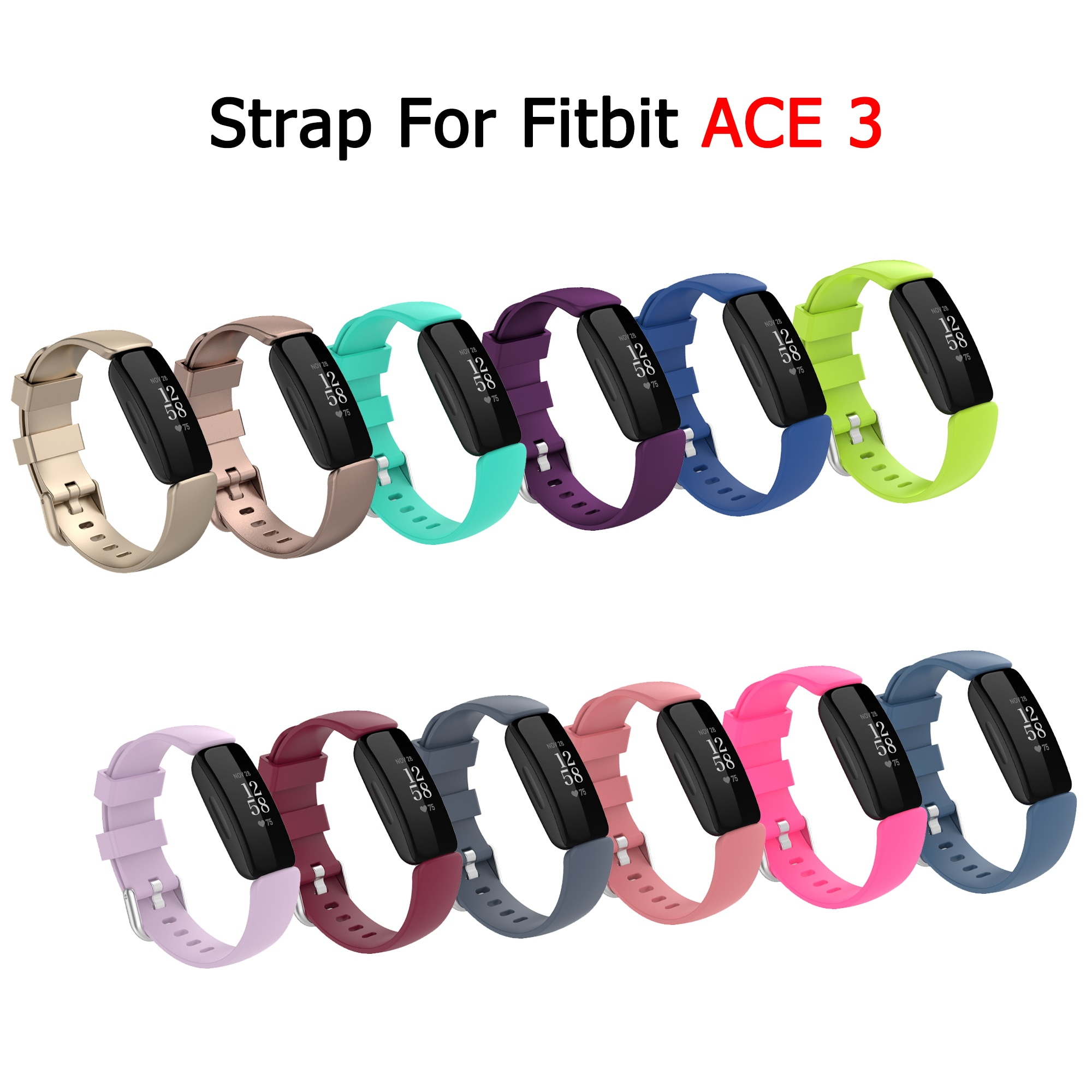 Band For Fitbit ACE 3 Kids Strap Bracelet For ACE3 Children Silicone Belt Replacement Smart Watch Ac