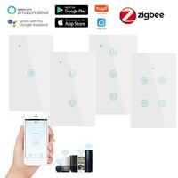 Interrupteur mural intelligent Zigbee  1 2 3 4 boutons  100-240V  pour application Smart Life  compatible avec Alexa et Google Home Assistant  Standard americain