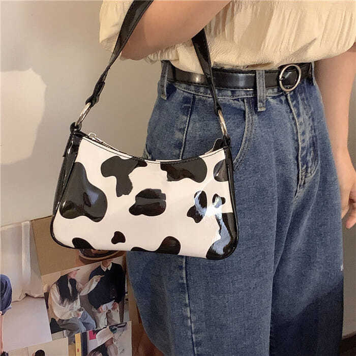 Fashion Milk Cow Pattern Women Underarm Handbags Vintage PU Leather Women Baguette Shoulder Bags Cool Girls Small Tote Purse