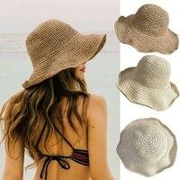 summer holiday ladies summer sun hats women panama straw beach hats foldable wide brim floppy bucket hats