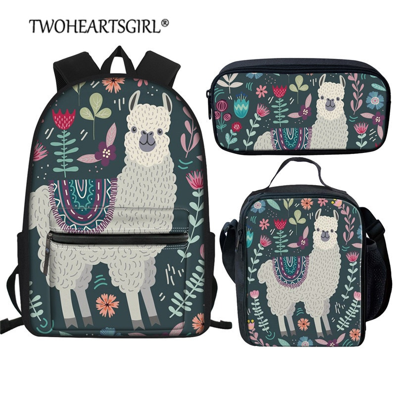 Bolsa de Livro para Adolescente Bookbag dos Desenhos Twoheartsgirl Bonito Alpaca Impresso Crianças Animados Escola Primária Bolsas Conjunto Azul – Verde