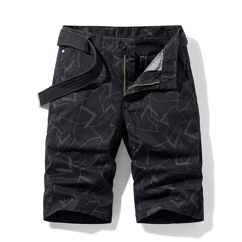 2021 Summer New Men's Camouflage Cotton Zipper Casual Pocket Regular Five-Point Pants Military Cargo