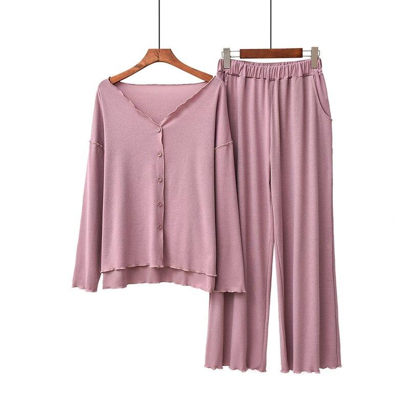واحدة الصدر الخامس الرقبة المرأة القطن منامة مجموعة الصلبة حجم كبير الإناث الكورية Homewear الربيع طويلة الأكمام المتسكعون المنزل دعوى