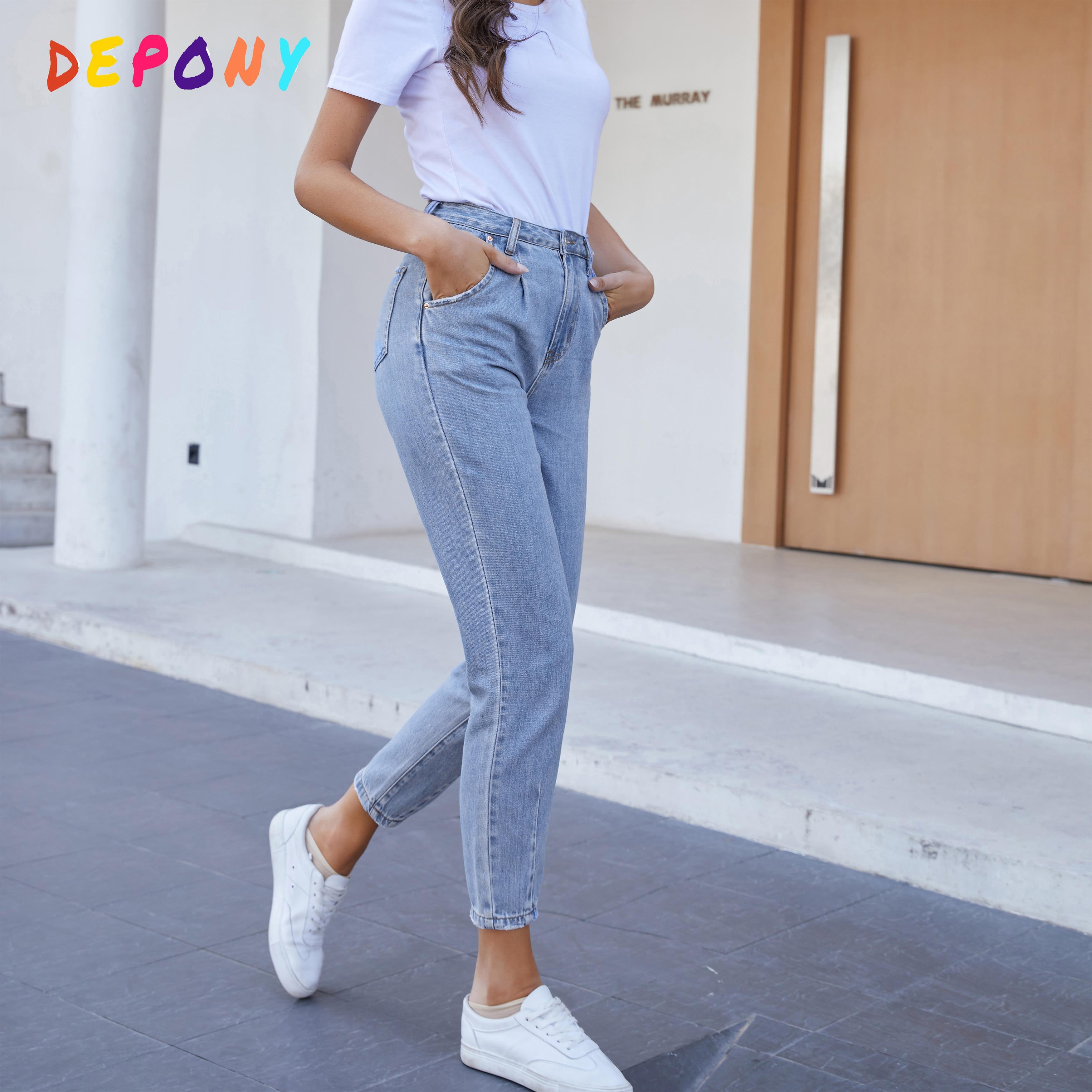 2021 Depony High Waist Mom Jeans Women Boyfriends Straight Jeans Femme 100% Cotton Loose Vintage Den