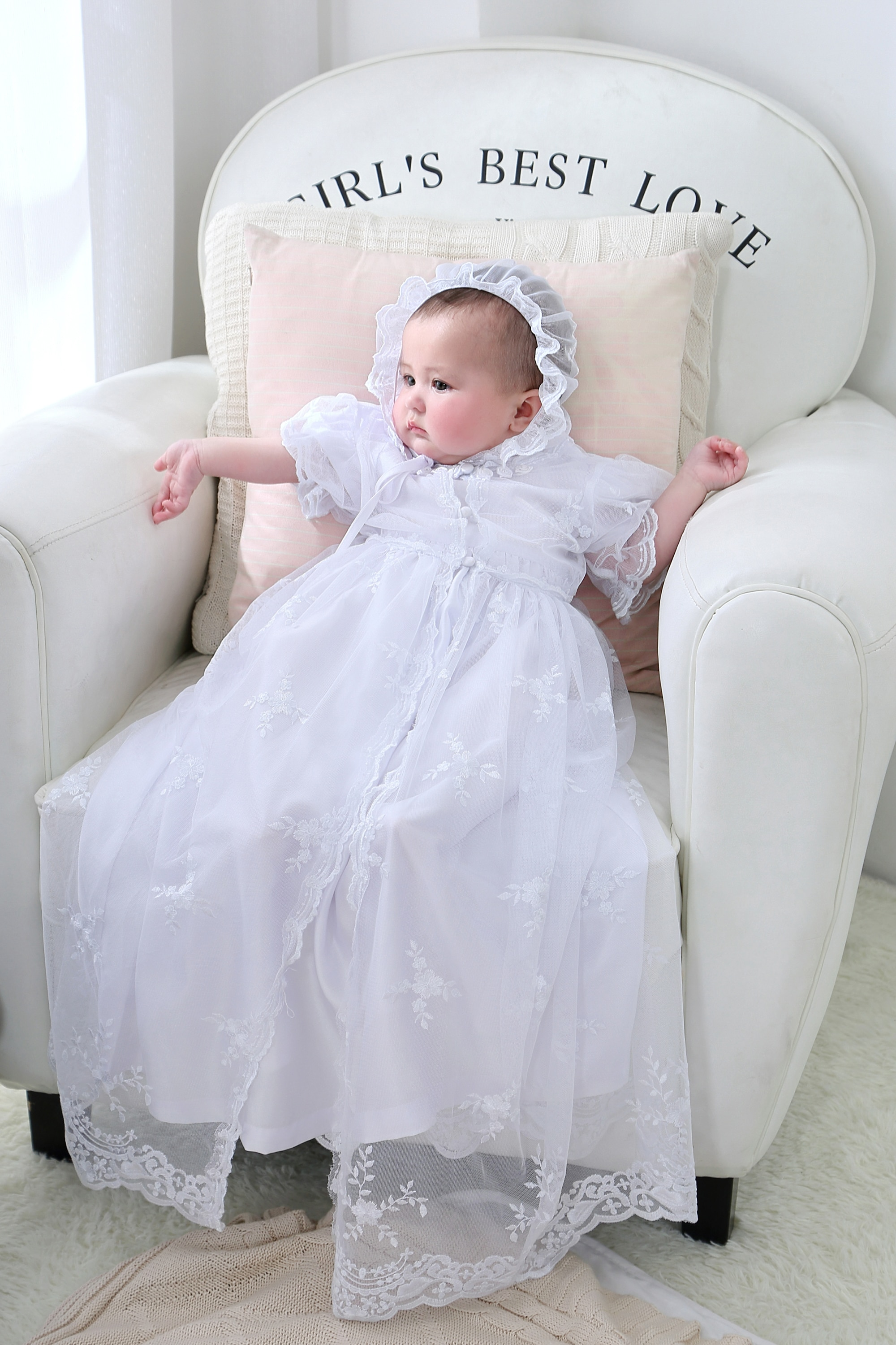 Nimble Newborns Clothes Baby Girl Dress Three Pieces White Lace Embroidered Baptismal Floor-Length Christening Gowns