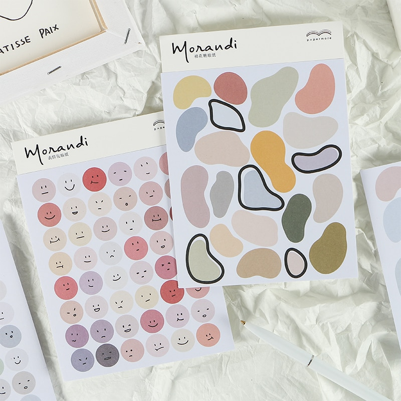 Morandi Color Round Cute Smiley Face Expression Stickers Bullet Journaling Accessories Scrapbook DIY Hand Account Deco Stickers