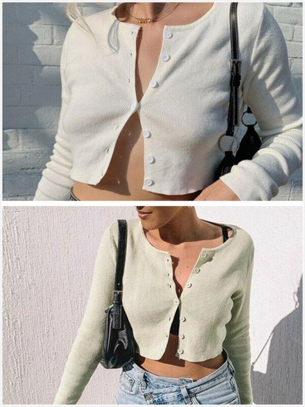 Женский сексуальный короткий топ с v-образным вырезом и пуговицами, вязаный свитер, кардиган, S-L
