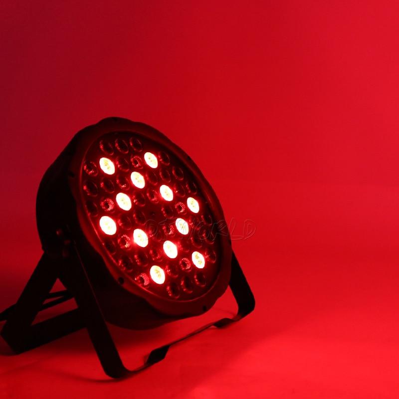 Djworld LED Flat Par 54x3W RGB Color Lighting Strobe DMX 512 Stage Effect Light For Dj Disco Party Wedding Bar Stage Party TV