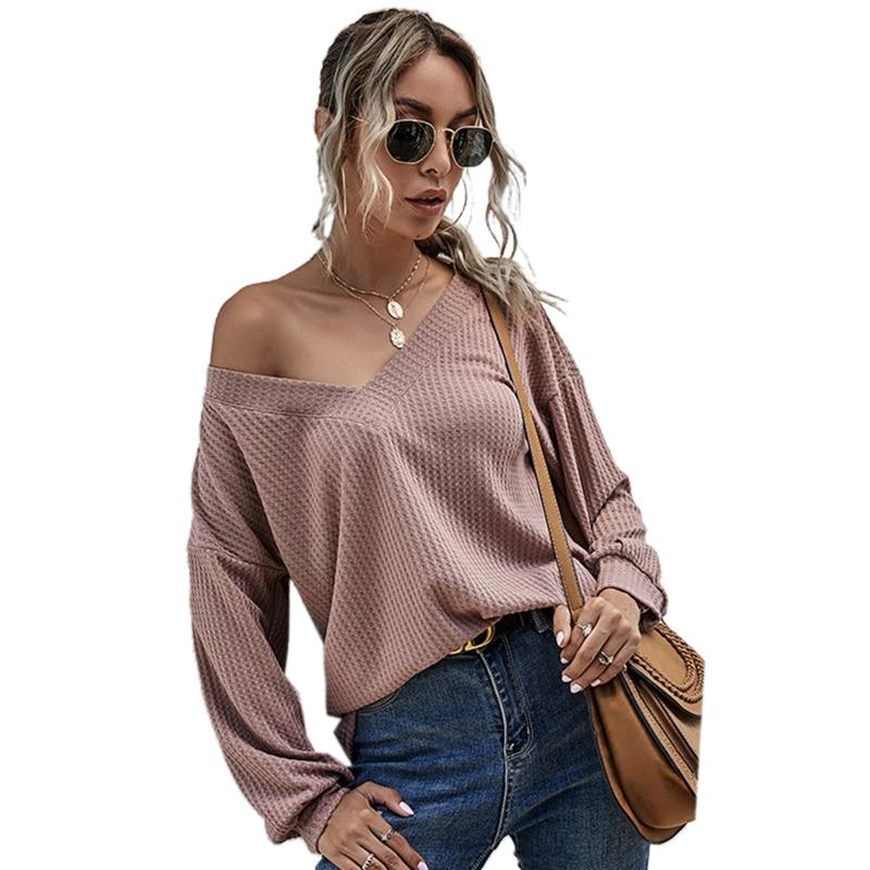 Women Long Sleeve Waffle Knit Sweater Sexy V-Neck Off Shoulder Loose Jumper Tops drop shoulder open knit jumper