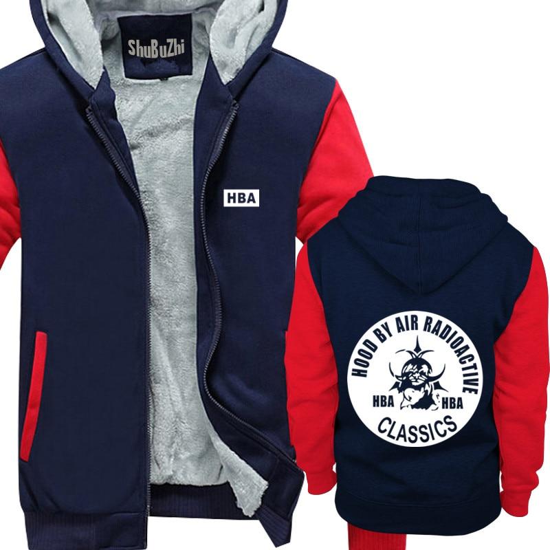 Winter Thick Warm Zipper Coat for Mens HOOD BY AIR RADIOACTIVE CLASSICS             trendy HBA SportWear Tracksuit Hoodies