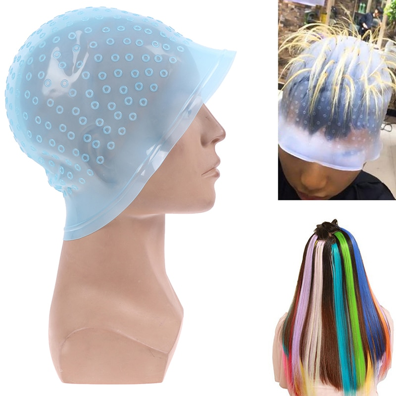 Pelo gorra para coloración + aguja de gancho de Color profesional tinte destacando reutilizable de glaseado de herramientas de salón de belleza