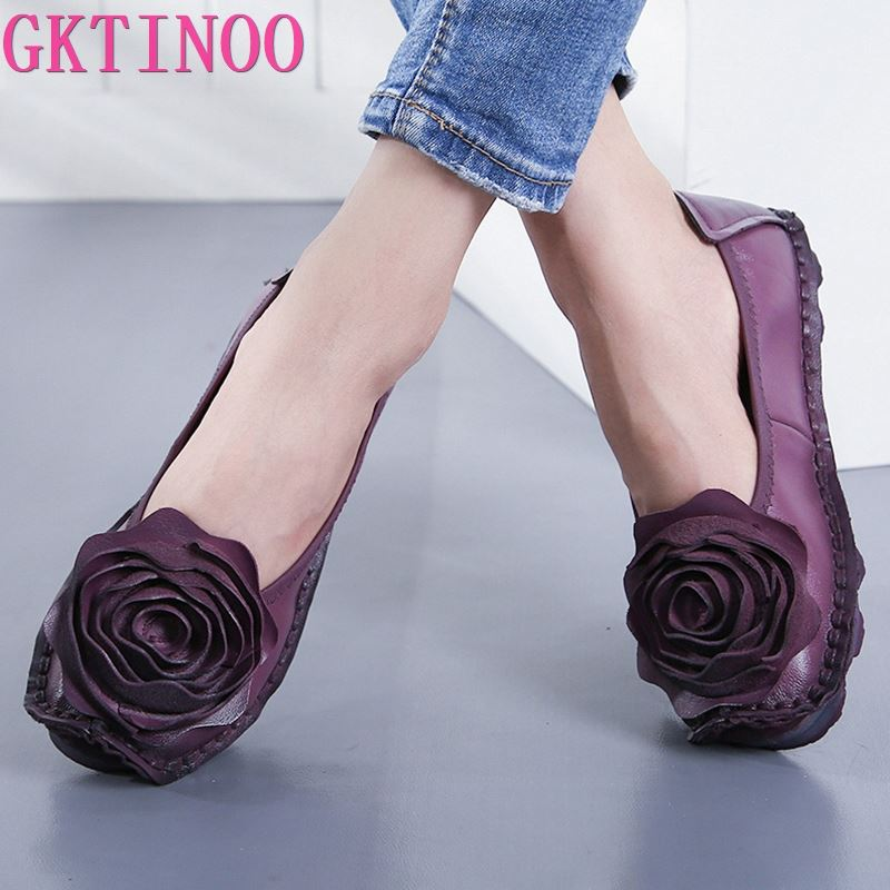 AliExpress - GKTINOO Fashion Flower Design Round Toe Solid Color Flat Shoes Vintage Genuine Leather Women Flats Handmade Women's shoes
