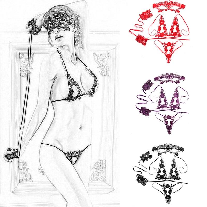 Conjunto de Sujetador Transparente para Mujer, ropa interior de encaje, lencería femenina, Sexy, 4 Uds.