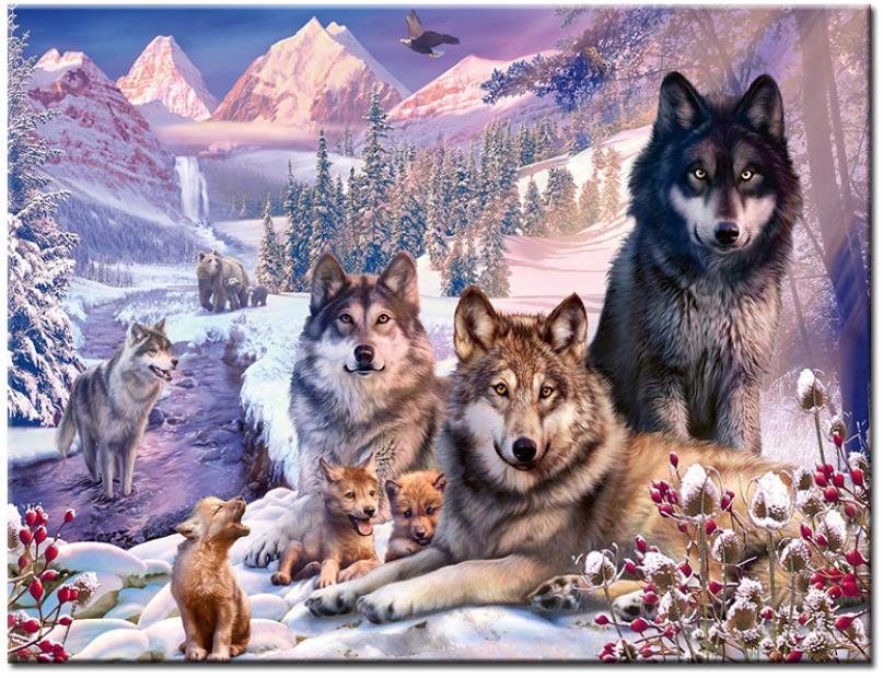 Lobos diamante pintura nieve montaña diamantes de imitación bordado animales mosaico adhesivo decoración tapiz de diamantes carteles papeles de pared