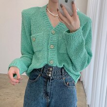 Cardigan Sweater Korean Chic Autumn Gentle V-neck Green Skin Single Breasted Double Pocket Loose Lon