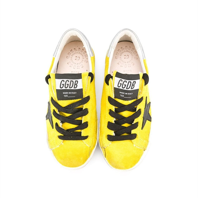 2021Children  Spring and Summer New Lemon Yellow Ox Velvet Retro Old Small Dirty Shoes Boys and Girls Casual Kids Shoes CS195