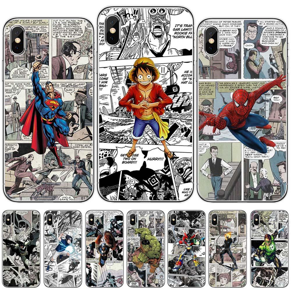 Marvel Capitán América cómics superman batman joker hulk una pieza funda de silicona para iphone 11 pro max x xs x xr 6 7 8 6s plus 5s 5