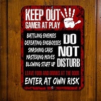 inside gamer at play do not disturb enter at own risk tin sign 20x30cm