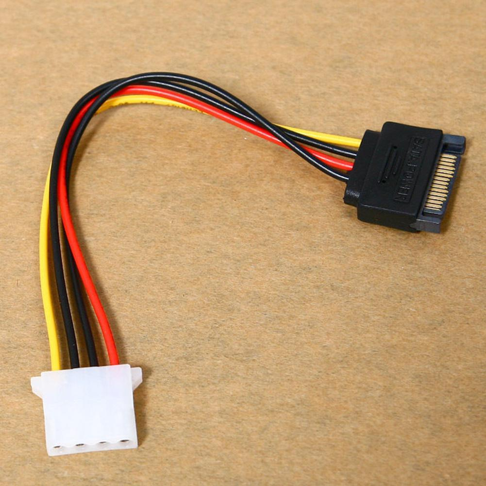 4-Pin Male to IDE SATA 15-Pin Female Connector Cord Power Drive Adapter Cable sata to esata 4 pin ide power port bracket cable w power cable esata cable black red silver