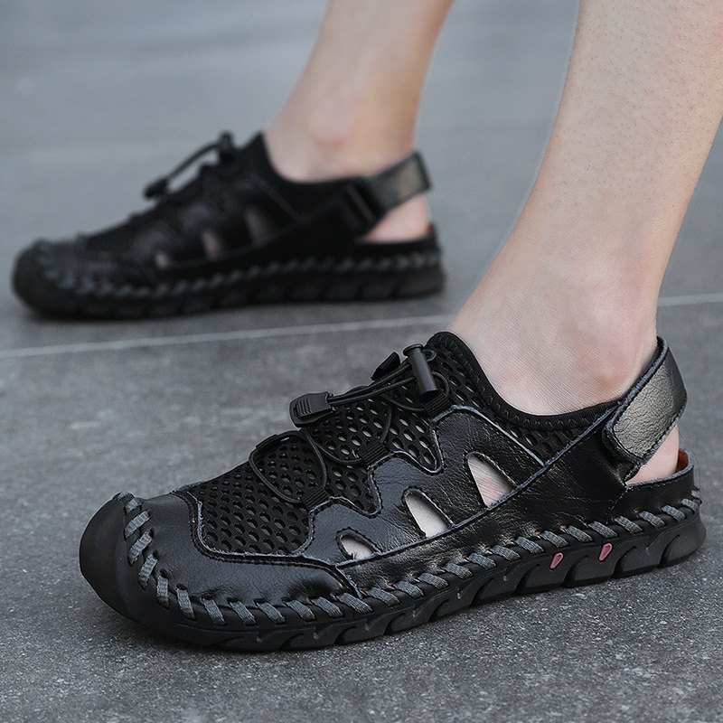 Sandálias de Couro Feitos à Mão ao ar Livre dos Homens Sandálias de Praia Verão Malha Genuíno Respirável Sapatos Casuais Chinelos Homens Tamanho Grande 38-46