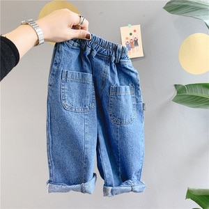 WLG Girls Boys Jeans Kids Spring Harem Denim Loose Jean Baby Casual All Match Trousers for 1-6 Years Children