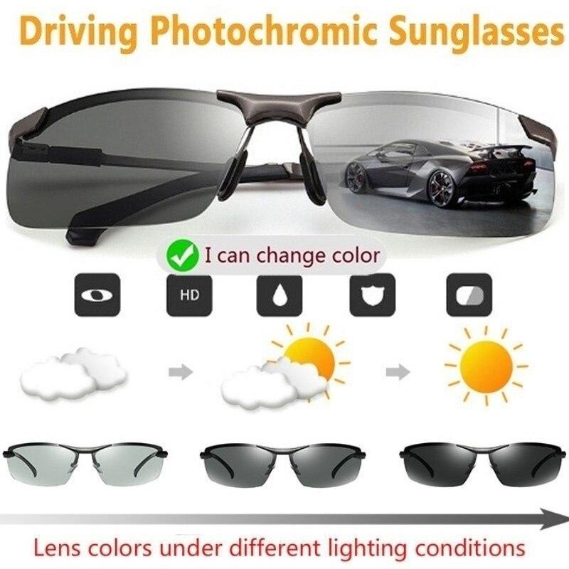 Очки солнцезащитные Мужские Дневные и ночные, фотохромные поляризационные очки-хамелеоны для вождения, меняющие цвет, 2020